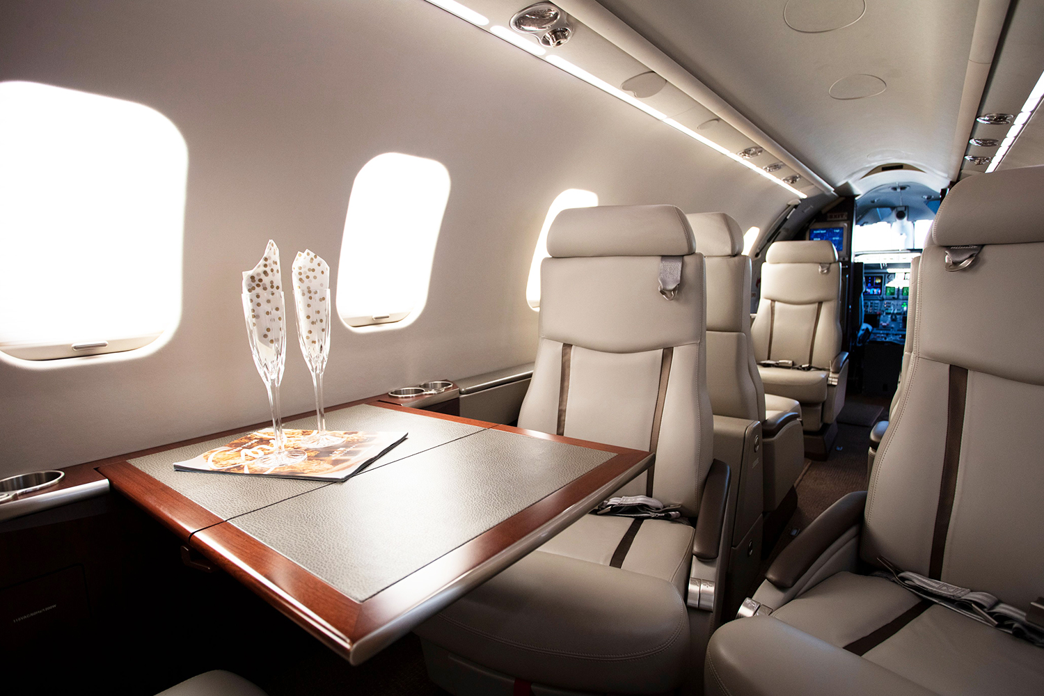 The Lear 45's main cabin seats 8 at BTR Air Charter.