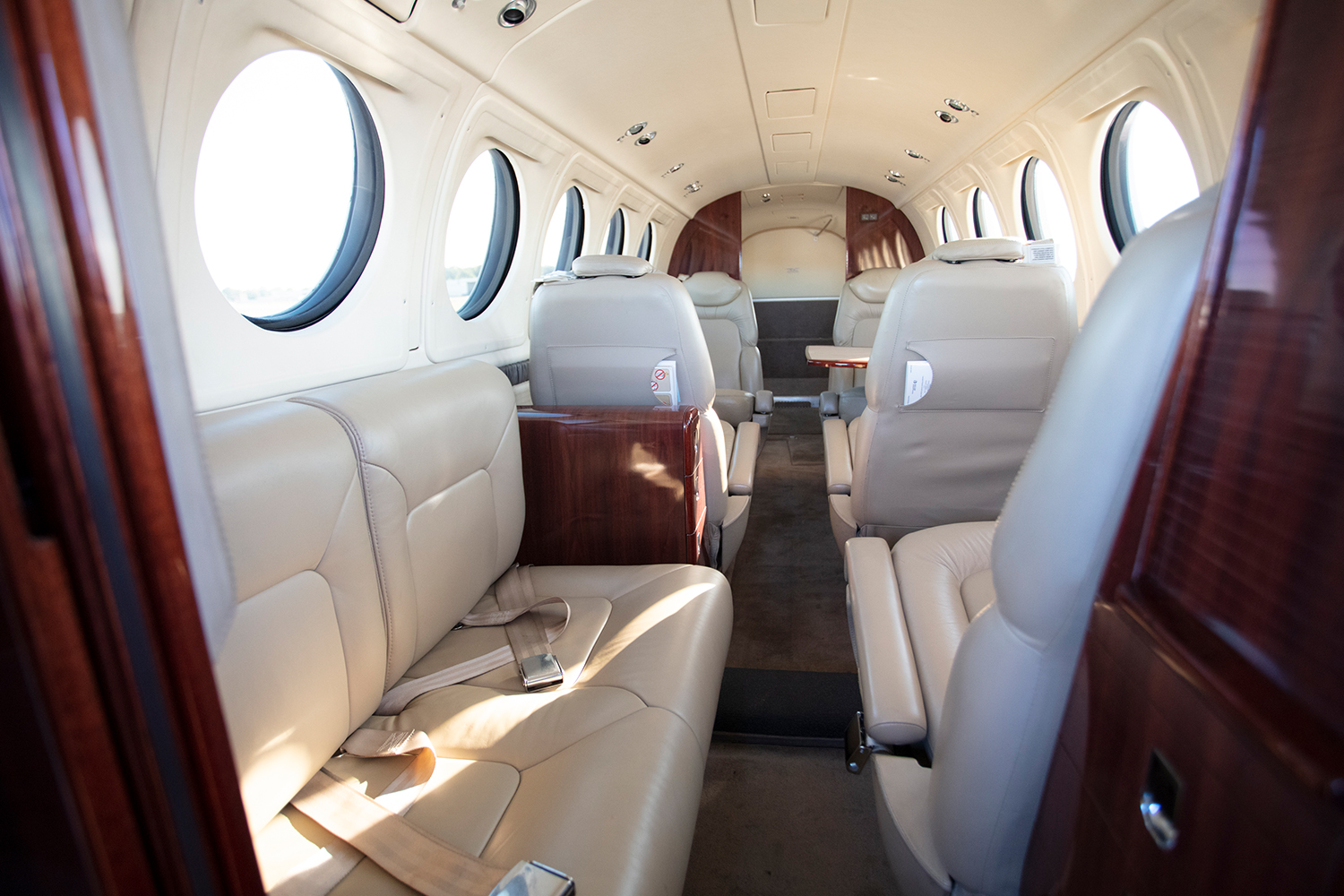 BTR Air Charter - King Air BE200 - two seat couch in main cabin - Interior
