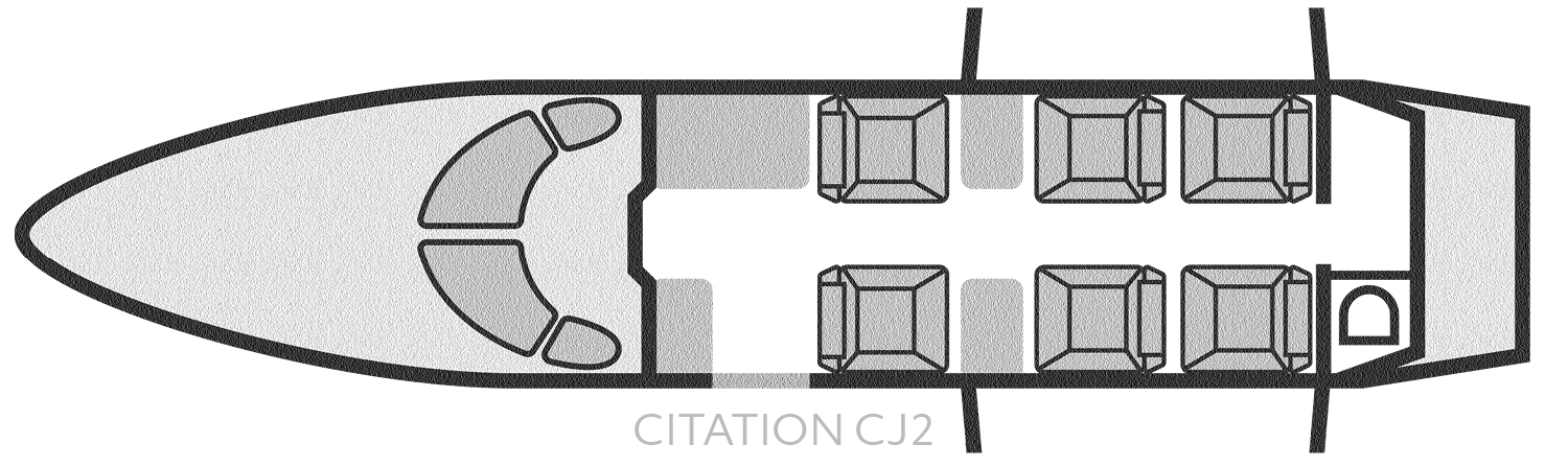 Citation CJ2 - Seating Chart Layout - Baton Rouge Air Charter